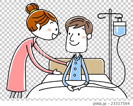 入院する夫と妻 23317564