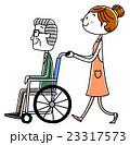 車椅子のシニア男性と女性介護スタッフ 23317573