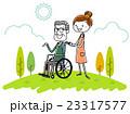 車椅子のシニア男性と女性介護スタッフ 23317577