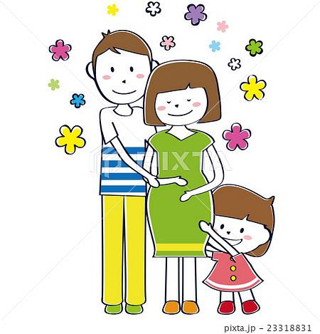 かわいい幸せ家族 妊婦 全身 線画のイラスト素材 23318831 Pixta