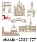 Symbolic landmarks of Italy linear symbols 23334777
