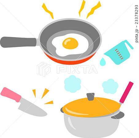 料理中のフライパンや鍋のイラスト素材 23378293 Pixta