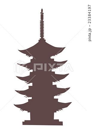 五重塔シルエットのイラスト素材 23384197 Pixta