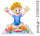 Cartoon Little Boy Painting 23385529