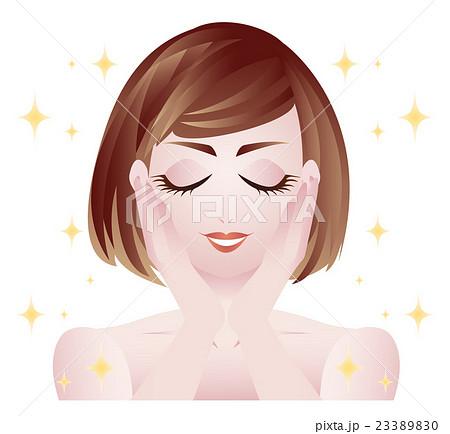 イラスト素材女性 上半身 肌 美容 目を閉じる キラキラのイラスト素材