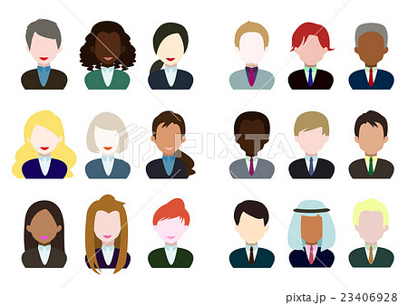 イラスト素材 ベクター 世界の人々 男女 ビジネス スーツの