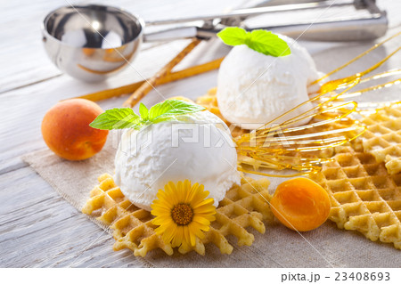 Ice Cream with apricot, Mint and waffles. Homemadeの写真素材 [23408693] - PIXTA