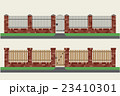 Brick fences with wooden and metal. 23410301