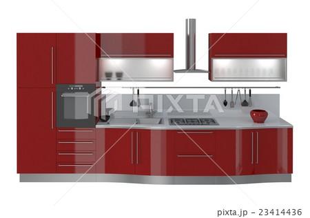 Kitchen Furniture Isolated On White 3Dのイラスト素材 [23414436] - PIXTA