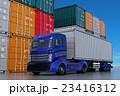 コンテナヤードにある青色コンテナトラック 23416312