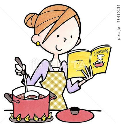 女性の日常生活18煮込み料理を作るのイラスト素材 23419155 Pixta