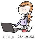 女性の日常生活21パソコンで珈琲ブレイク 23419158