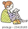 読書 女性 猫のイラスト 23419165