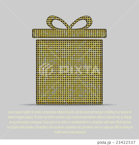 Vector gold sequin gift box. Eps 10.のイラスト素材 [23422537] - PIXTA