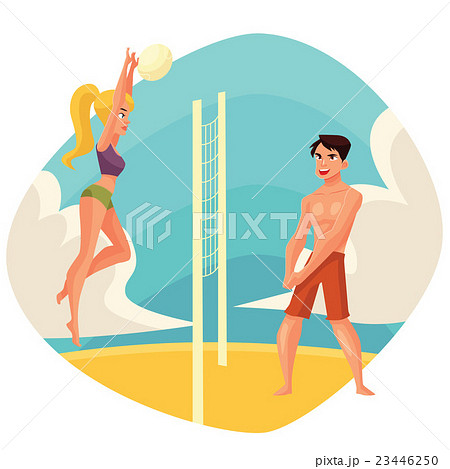 Young man and woman playing volleyball on the 23446250