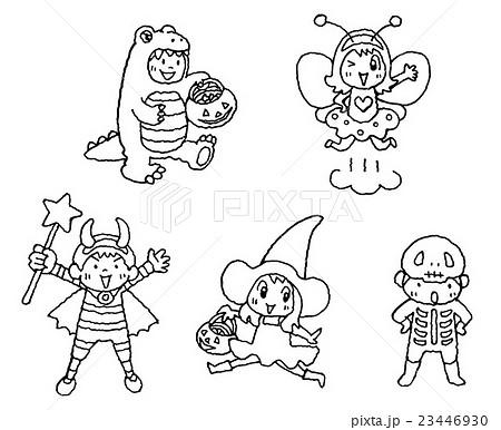 ハロウィンぬりえ子供たちのイラスト素材 23446930 Pixta