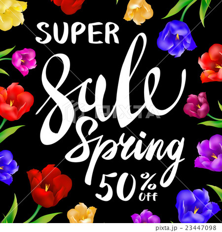 Vector sale spring sign with black background.のイラスト素材 [23447098] - PIXTA