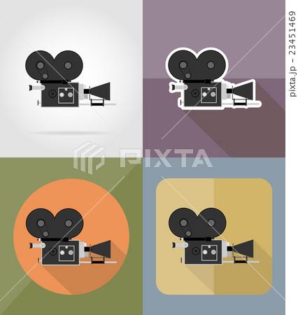 old movie camera flat icons vector illustrationのイラスト素材 [23451469] - PIXTA