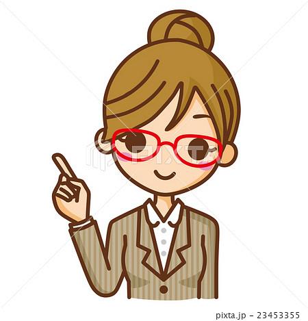 眼鏡のビジネスウーマン 指差し 23453355