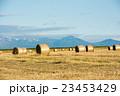 牧草ロールと山並み 23453429