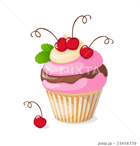 isolated cupcake with cherry 23456739