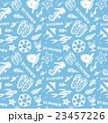 夏、貝や魚、ビーチ素材模様 23457226