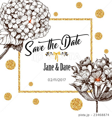 save the date card template for anniversaryのイラスト素材 23468874