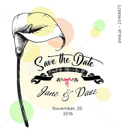 save the date invitation template vector のイラスト素材 23468875
