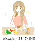健康的な食事をとる女性(パン) キラキラあり 23474645