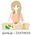 健康的な食事をとる女性(パン) キラキラなし 23474650
