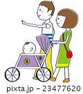 お散歩家族 パパ おかっぱママ 赤ちゃん  23477620