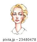 Lady. Beautiful female face. Watercolor  23480478