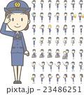 制服を着た警察官の女性vol.2(車椅子・指示棒・PCなど, 様々な表情やポーズのイラストをセット) 23486251