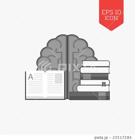 Books and brain icon. Education concept.のイラスト素材 [23517283] - PIXTA