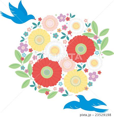 カット素材-可愛い花と鳥 23529198