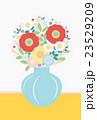 背景素材-可愛い花と花瓶(グレー,黄) 23529209