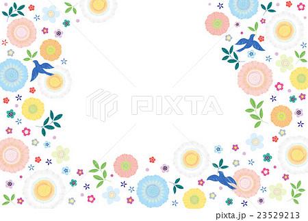 背景素材 可愛い花と鳥テクスチャのイラスト素材 23529213 Pixta