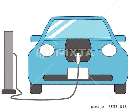 充電中の電気自動車(人物なし、背景なし) 23534018