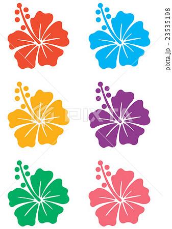 ハイビスカス6色のイラスト素材 23535198 Pixta