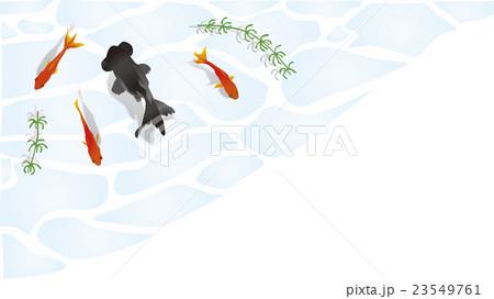 水面を泳ぐ金魚角枠2 23549761