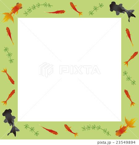 金魚正方形フレーム 影なし 黄緑色 23549894