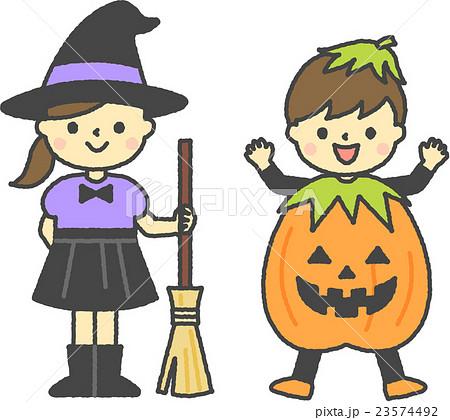 ハロウィンの仮装をした子供のイラスト素材 23574492 Pixta