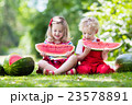 Kids eating watermelon in the garden 23578891