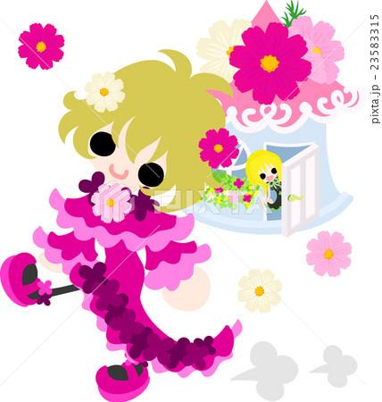 可愛い女の子とコスモスの家のイラスト素材 23583315 Pixta