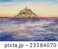 モンサンミッシェルの夕景 水彩画 23584070