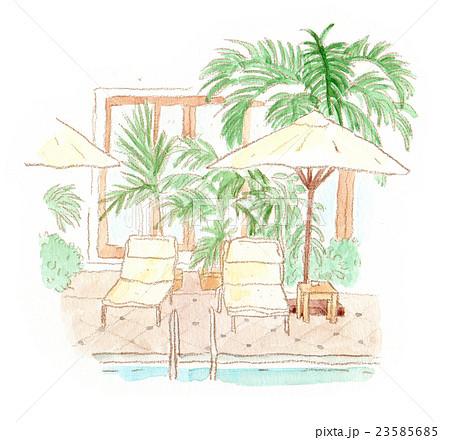 海外ホテルのプールサイド イラスト 23585685