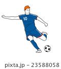 サッカー 男性 蹴るのイラスト 23588058