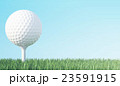 Golf ball on green grass ready to be shot, blue 23591915