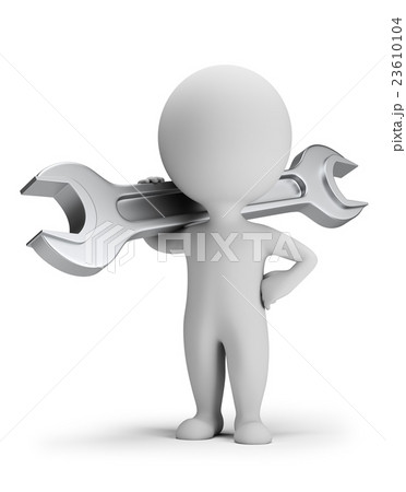 3d small people - worker with a wrench 23610104