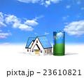 エネルギーを蓄電する乾電池とエコハウス 23610821